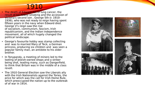 Basic powerpoint presentation of the life and reign of George 5th.