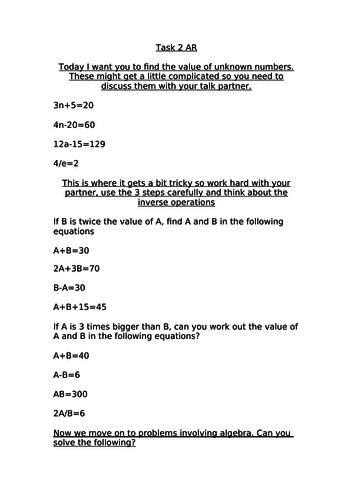 White Rose Year 6 Algebra Spring block 3