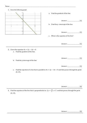 Test/ worksheet +answers. Straight line graphs GCSE/IGCSE-