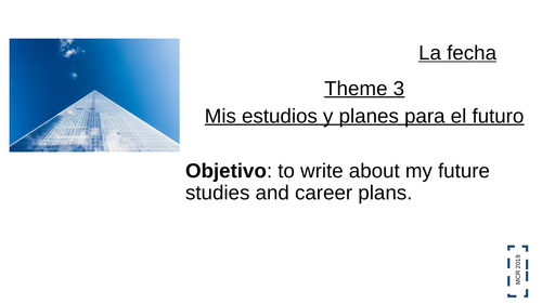 AQA GCSE Spanish 9-1 Reading and Writing 90-150 words- Theme 3  - Topic: Jobs and career ambitions