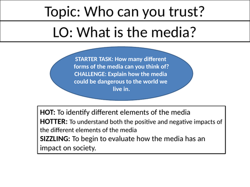 Who can I trust? Complete Media Scheme of Work - Ethics/RE/RS