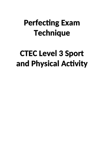 Cambridge technical Level 3 Sport improving unit 3 exam technique