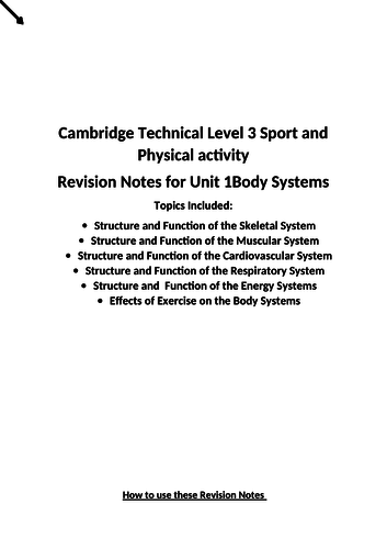 Cambridge Technical Sport Level 3 Unit 1 revision booklet