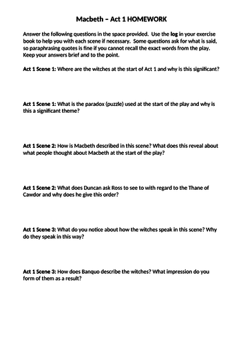 Macbeth Homework Act 1-5