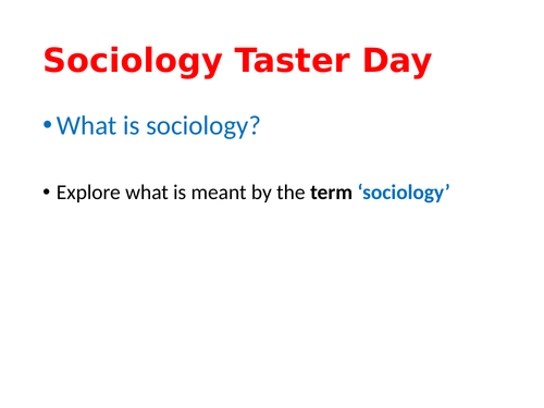 Sociology Taster Day Session