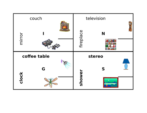 Furniture in English 4 by 4