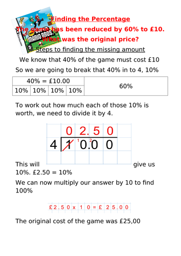 Finding missing percentage poster