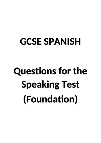 GCSE Spanish - Speaking questions (Foundation)