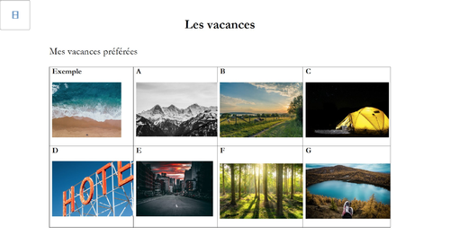 French - GCSE - Listening practice - Holiday (worksheet + audio + transcript) - opinions
