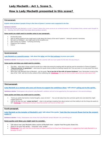 Low ability year 9 Lady Macbeth Act 1, Scene 5 assessment prep sheet 9-1 AQA