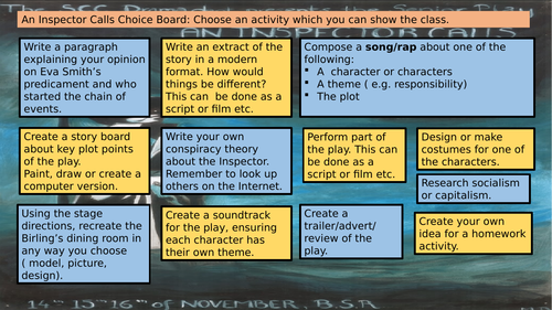 An Inspector Calls homework choice board
