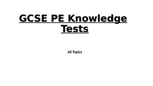 GCSE PE Knowledge Tests