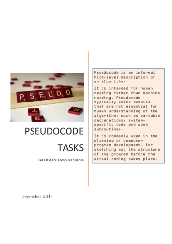 CIE Pseudocode Python Task Booklet