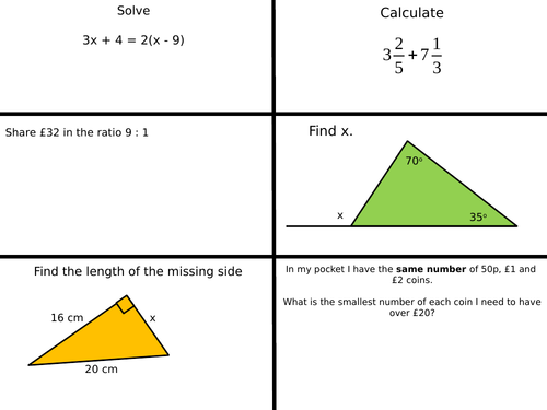 Foundation GCSE revision starters (107)