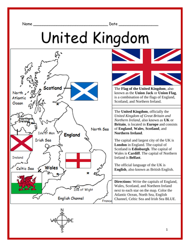 UNITED KINGDOM - Printable handout with map and flag