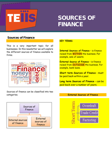 Sources of Finance - Revision newsletter