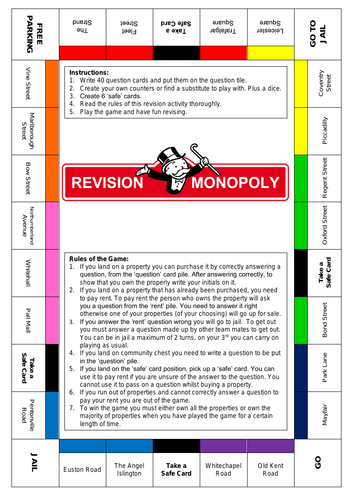 Revision Resource - Blank Monopoly Template