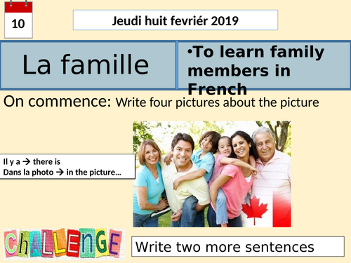 Ma famille -revision lesson/cover work