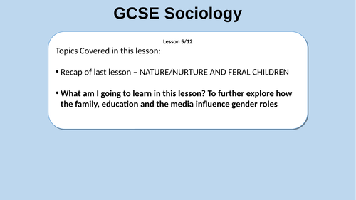 GCSE Sociology WJEC new spec - gender socialisation
