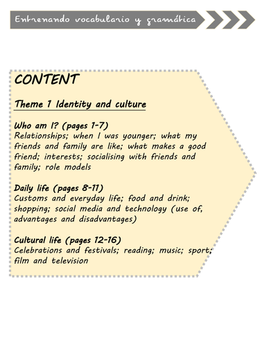 GCSE vocabulary and grammar training - identity and culture