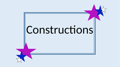 Constructions (with angle bisectors, line bisectors and triangle construction)