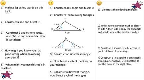 Constructions differentiated worksheet