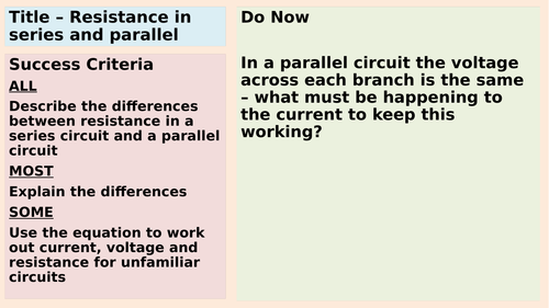 Resistance in series and parallel