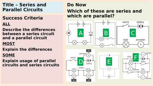 Comparison between series and parallel circuits