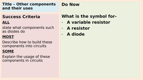 AQA GCSE thermistors, variable resistors, diodies and light dependent resistors