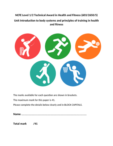 V CERT Health and Fitness Test Paper and Mark Scheme