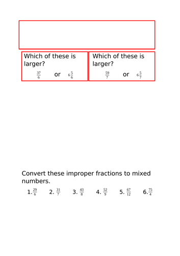 Converting between improper fractions and mixed numbers Y5