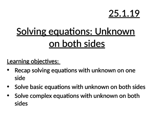 Solving with unknown on both sides