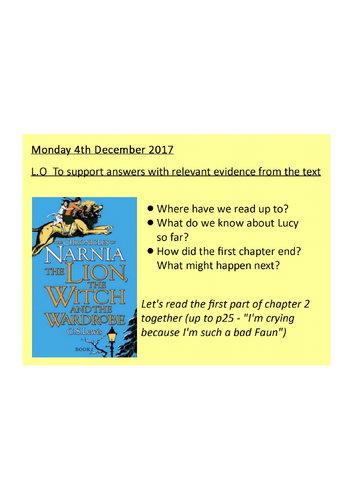The Lion The Witch And The Wardrobe Reading Lesson Finding Evidence In The Text Y4 5