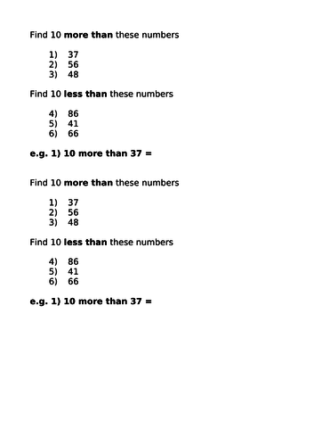 Finding 10 more or 10 less than numbers up to 100