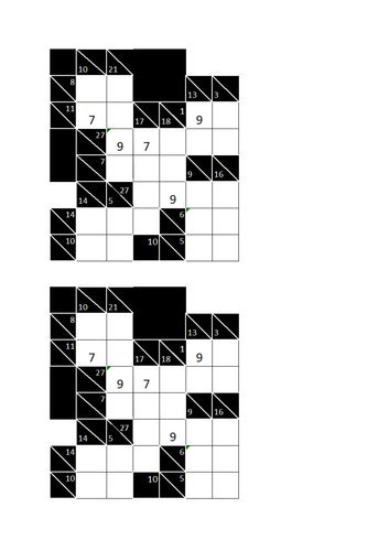 KS3 KS4, Kakuro Puzzles, two simple puzzles with solutions