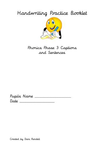 Handwriting Booklet Phase 3 Sentences