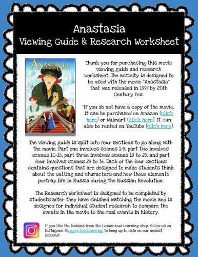 Anastasia Movie Viewing Guide & Research Worksheet *Print & Go Prep*