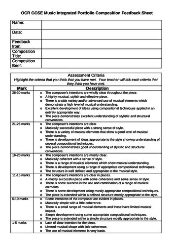 OCR GCSE Music Composition feedback sheet (free choir or brief composition)