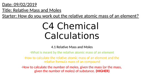 AQA GCSE C4.1 Relative masses and moles