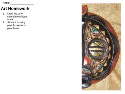 KS3 Art & Design African Plank Masks PP & Worksheets