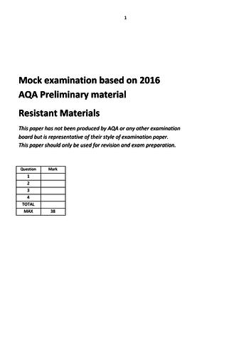 2016 AQA GCSE Resistant Materials mock exam