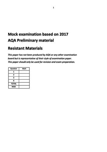AQA GCSE Resistant Materials mock exam for 2017 theme