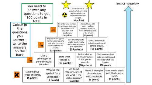KS3 Electricity Revision Pyramid & Answers
