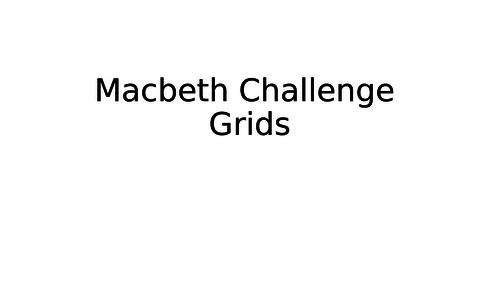 Macbeth challenge grids - 4 weeks worth of starters/plenaries