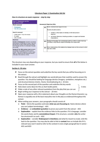 AQA Literature Paper 1 - how to approach the exam