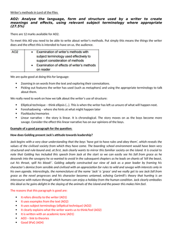 How to gain marks for AO2, AQA Lord of the Flies, HPA