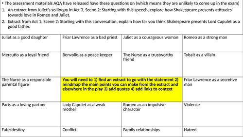 AQA Literature Paper 1 revision mats