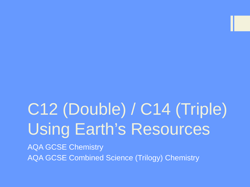 new specification C14 Earth's resources finite and infinite