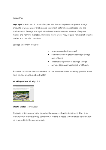 new specification treating waste water gcse