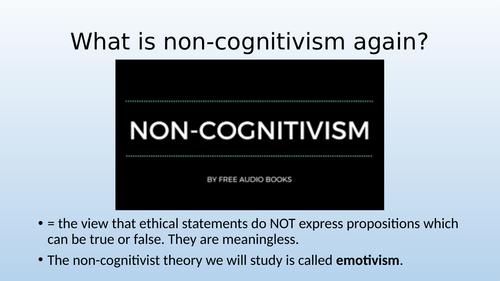 Eduqas / WJEC A Level Religious Studies - Ethics Theme 1F -Meta-Ethics: Non- Cognitvism: Emotivism